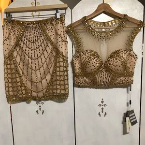 NWT! LUCCI LU Tan&Gold Embellished Outfit